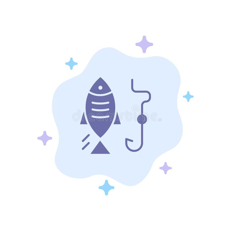 Fishing, Fish, Hook, Hunting Blue Icon on Abstract Cloud Background vector illustration