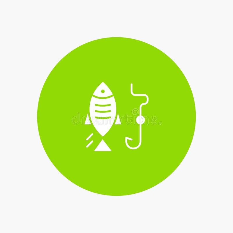 Fishing, Fish, Hook, Hunting white glyph icon vector illustration