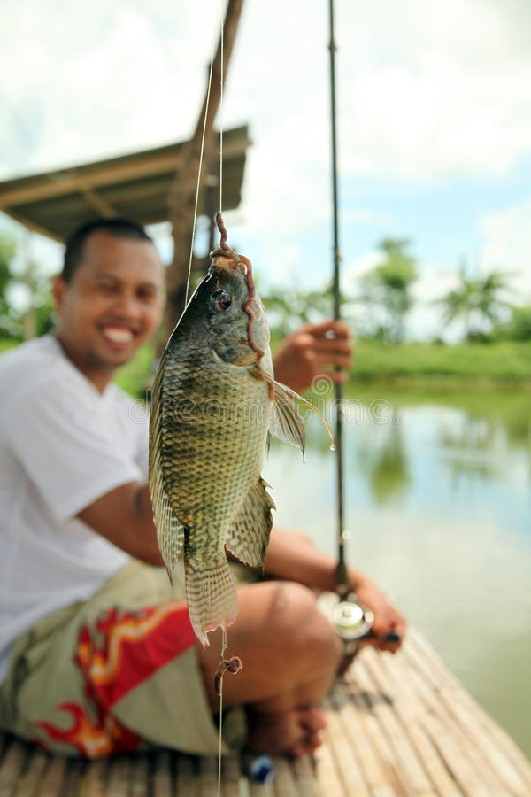 Fishing Fishpond Stock Photo