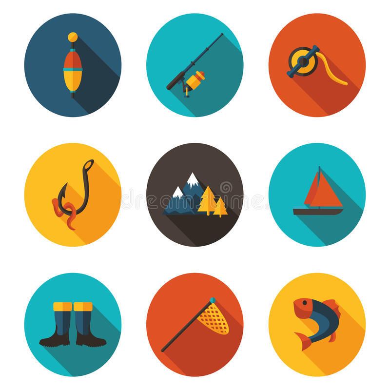 Fishing flat icons. Best fishing flat icons in format stock illustration