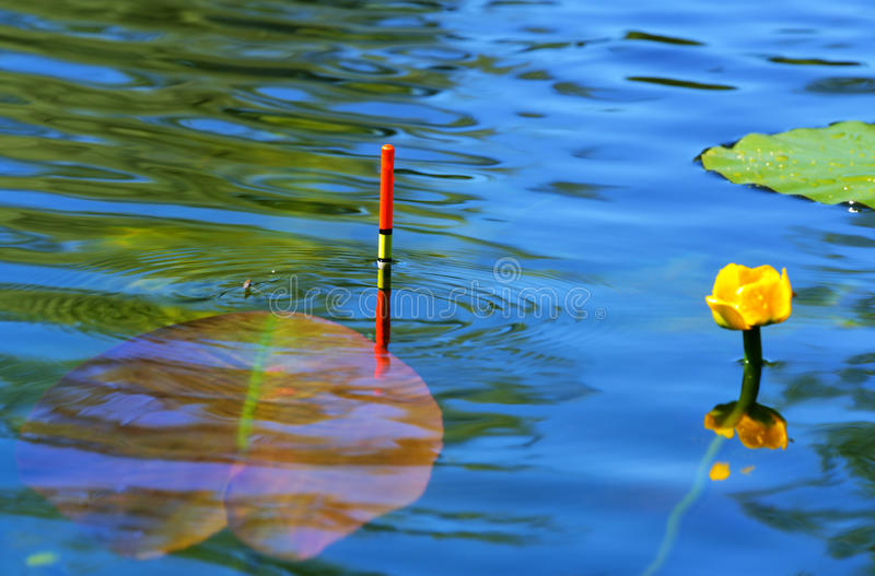 Fishing float in the lake stock photo