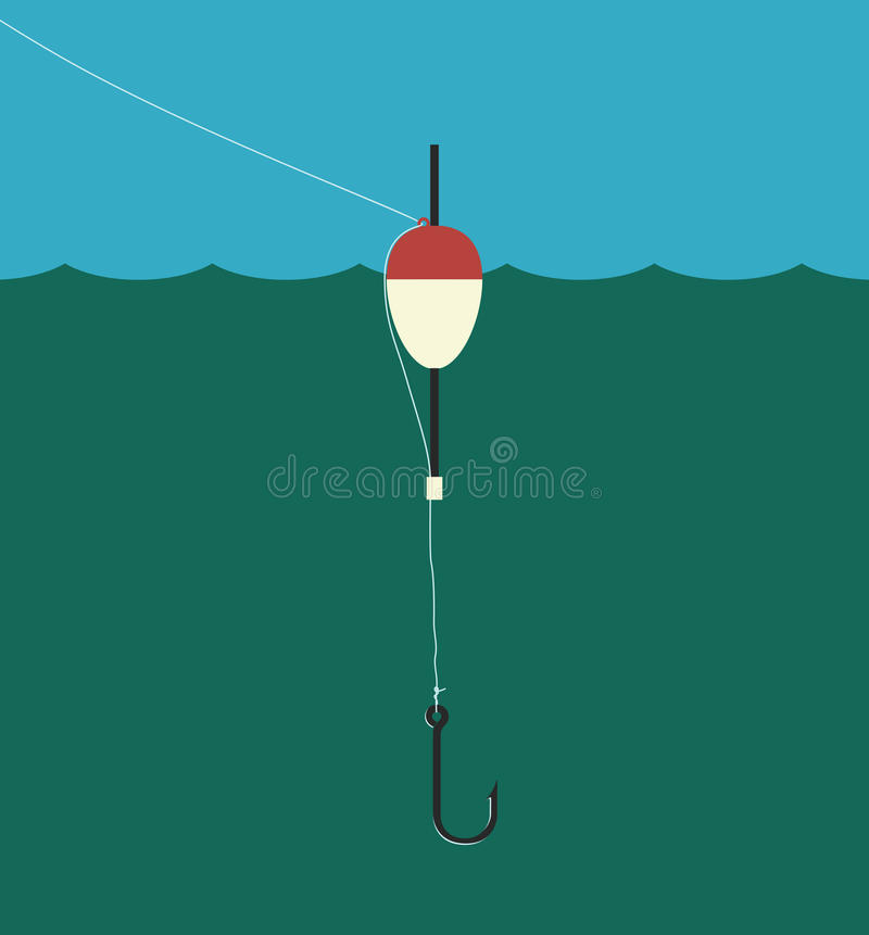 Fishing float, lilne, hook royalty free illustration
