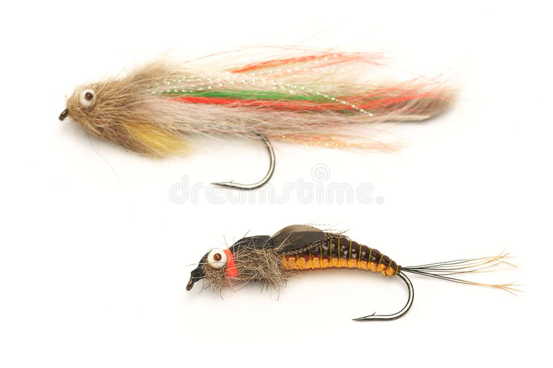 Fishing, fly fishing artificial bait, streamer. Fishing , fly fishing artificial bait, streamer royalty free stock photos
