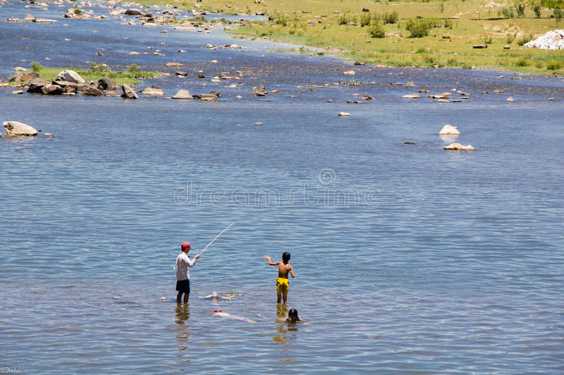 Fishing in Giăng river royalty free stock photography