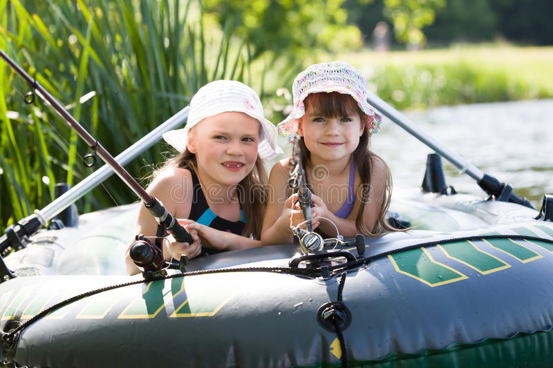 Fishing girls royalty free stock photography