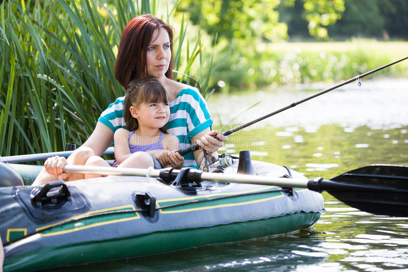 Fishing girls stock photo