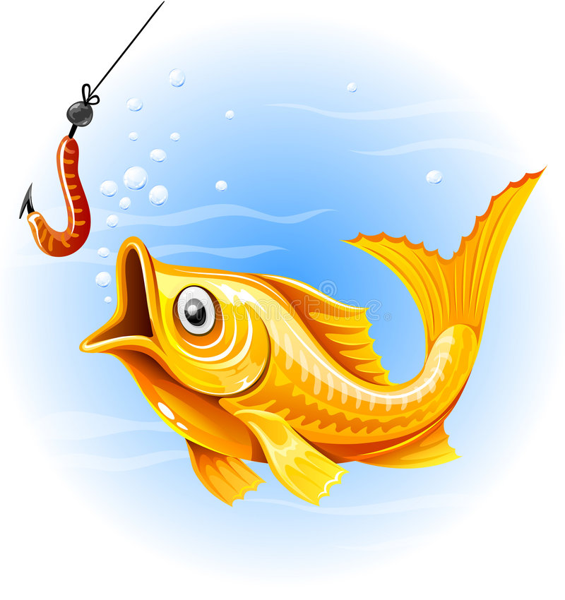 Fishing the gold fish hunting worm royalty free illustration