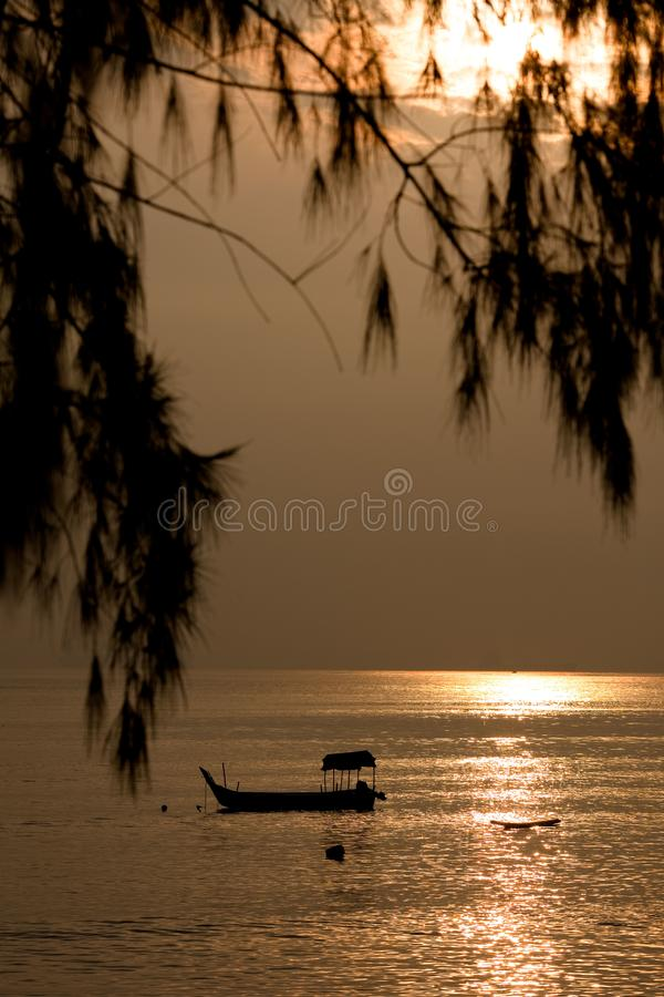 Fishing on the golden sunrise sea
