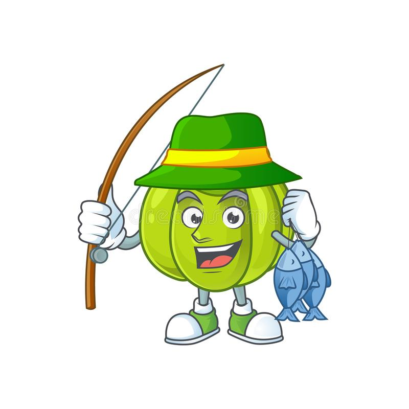 Fishing green pumpkin ripe on a white background. Vector illustration stock illustration