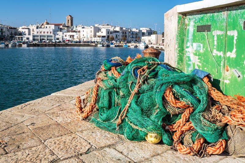Fishing harbor in Mola di Bari stock images