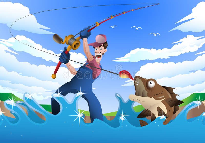 Fishing hobby. Illustration of a fisherman catch a big fish on river background