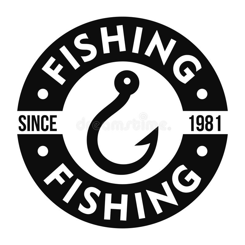 Fishing hook club logo, simple style stock illustration