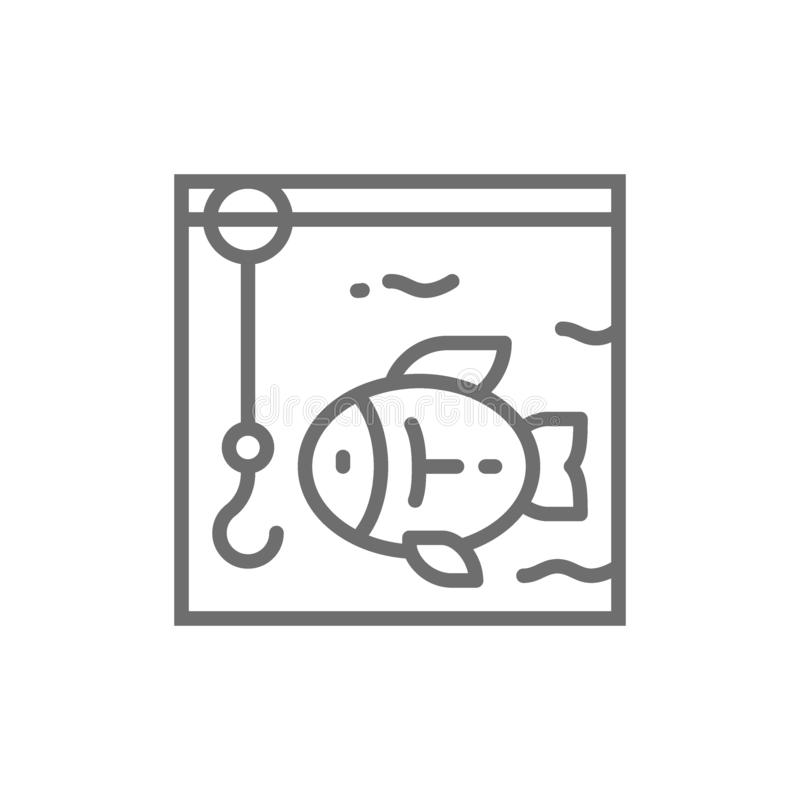Fishing, hook with fish underwater line icon. royalty free illustration