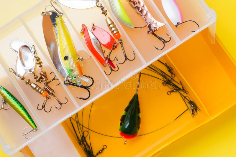 Fishing hooks and bait in a set for catching different fish.  royalty free stock image