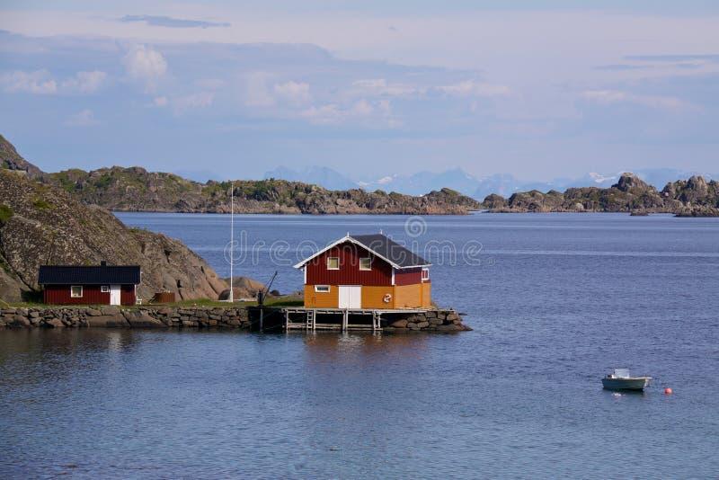 Fishing house on Lofoten royalty free stock photography