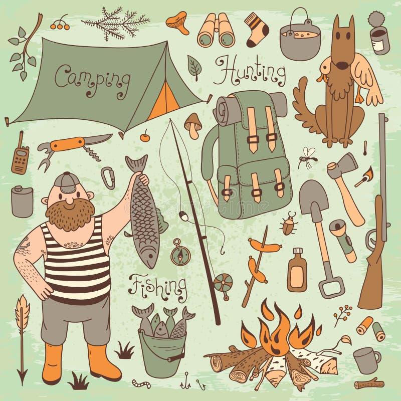 Fishing, hunting, camping set. stock illustration