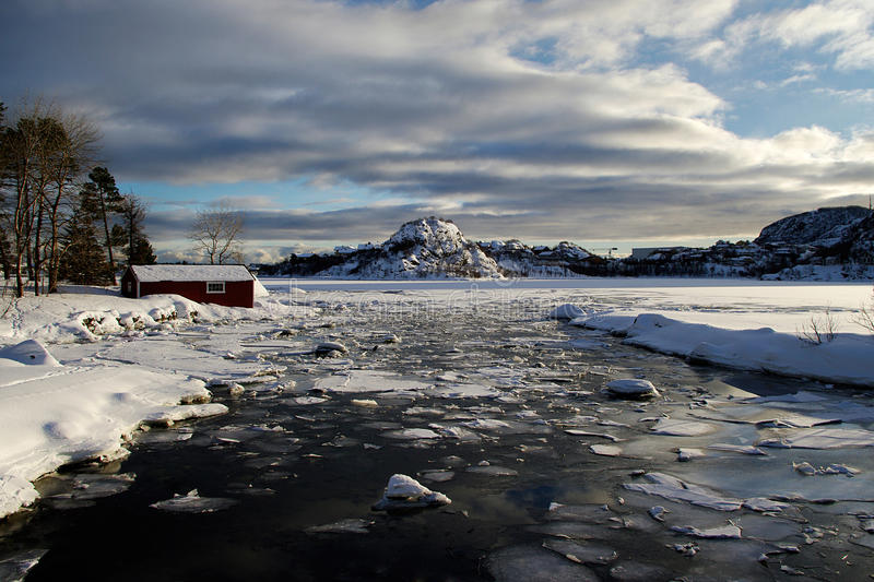 Fishing Hut in the ice in norway stock image