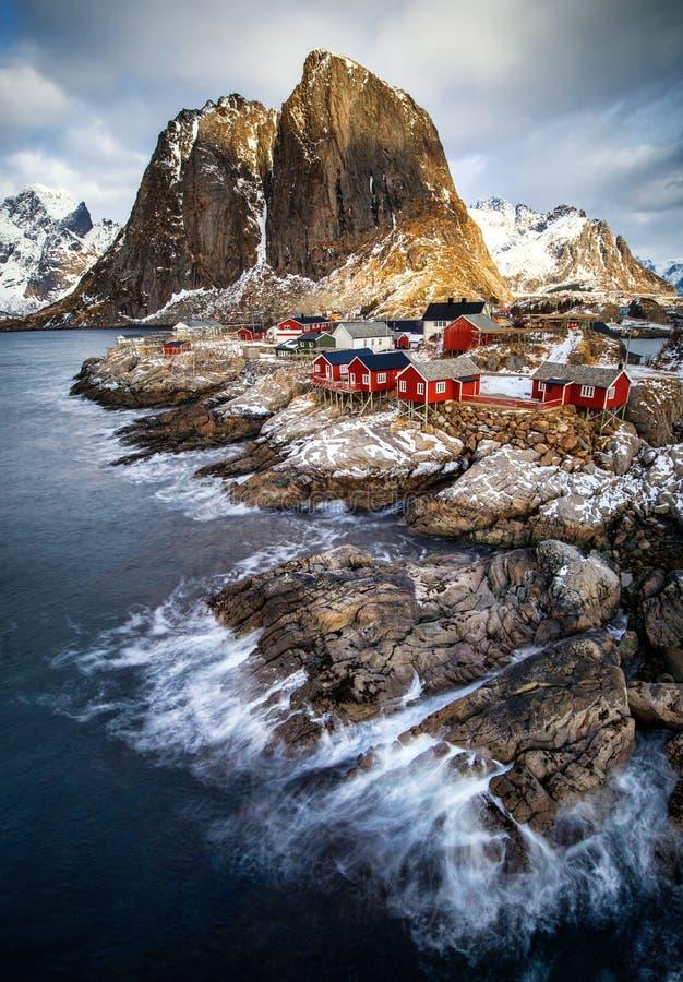Fishing hut in Reine, Lofoten islands. Winter landscape in the Lofoten islands, Raine, Norway stock photo