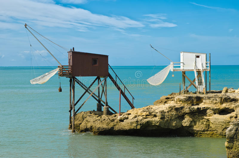 Fishing hut. In saint palais sur mer stock photos