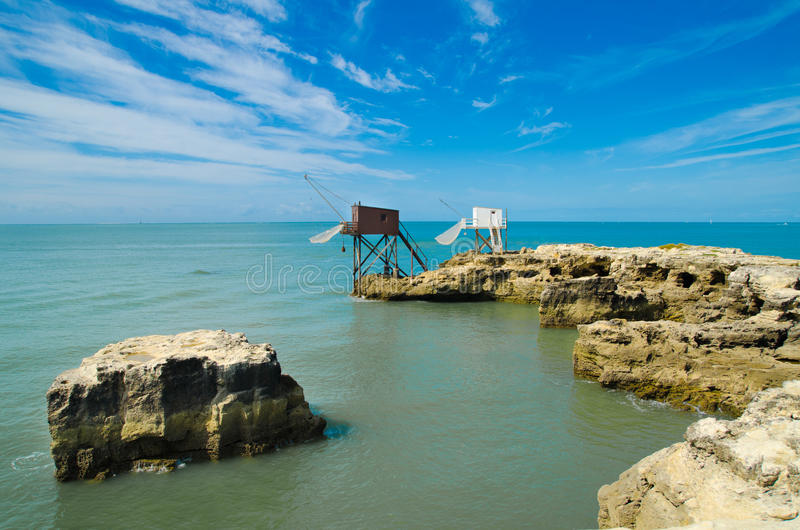 Fishing hut. In saint palais sur mer royalty free stock image