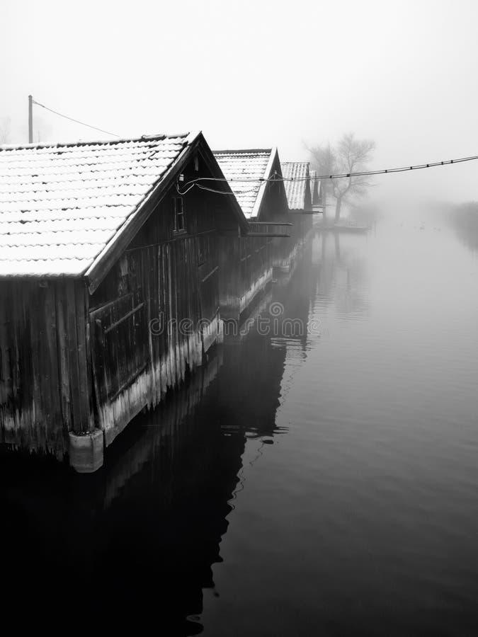 Free Fishing Huts On Lake Royalty Free Stock Photo - 13228555