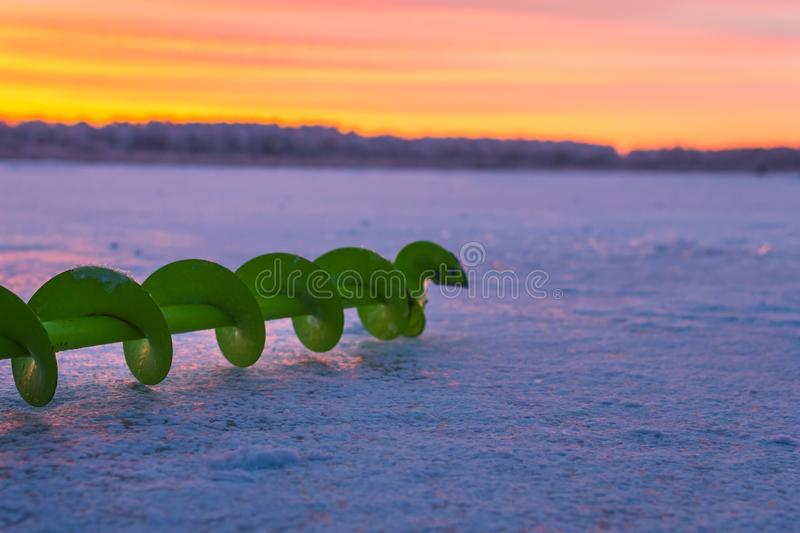 Fishing ice auger stock photography