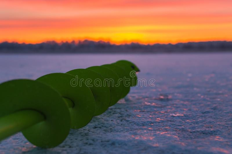 Fishing ice auger royalty free stock image