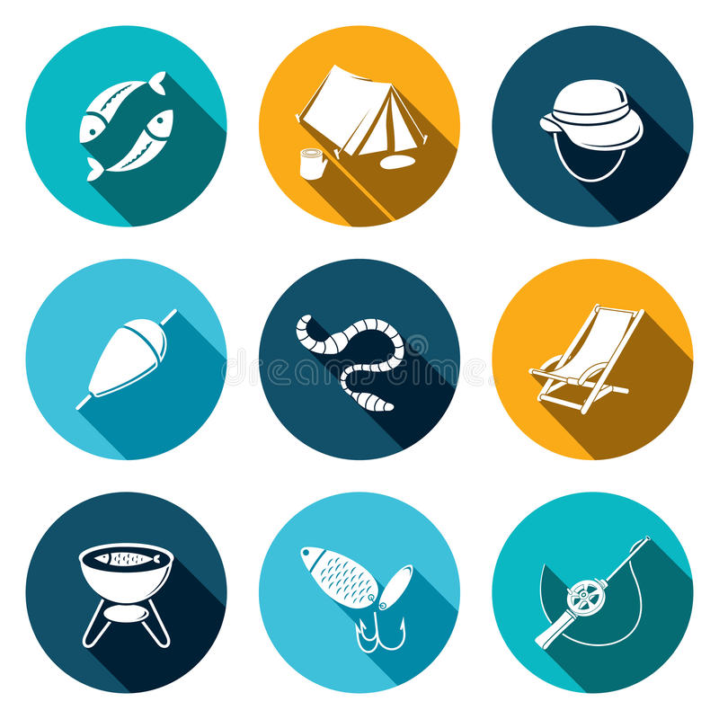 Fishing icon collection. Fishing icons set on a colored background royalty free illustration