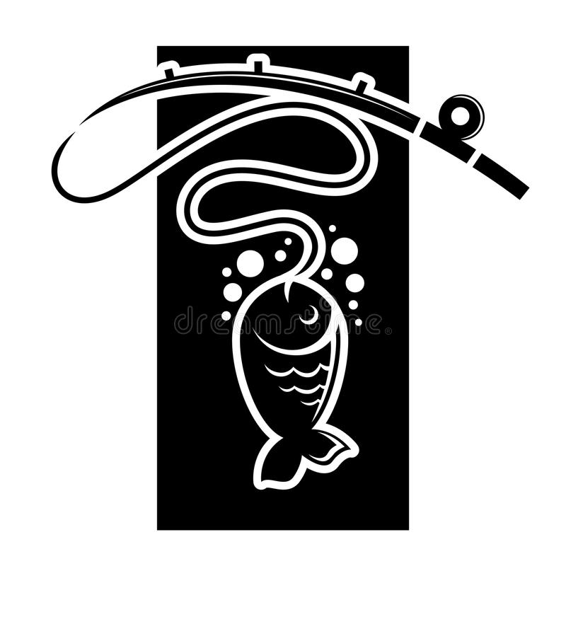 Fishing icon of fish catch on hook vector template vector illustration