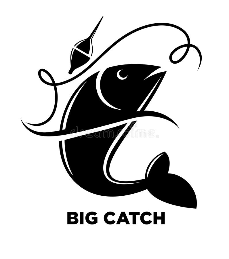 Fishing icon of fish on hook for fisherman club or fishery sea sport adventure logo template. stock illustration
