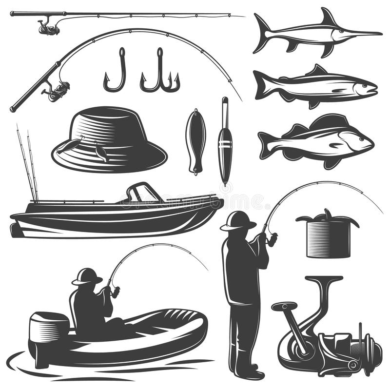 Fishing Icon Set. Fishing black isolated icon set with equipment of fisherman and his catch vector illustration royalty free illustration