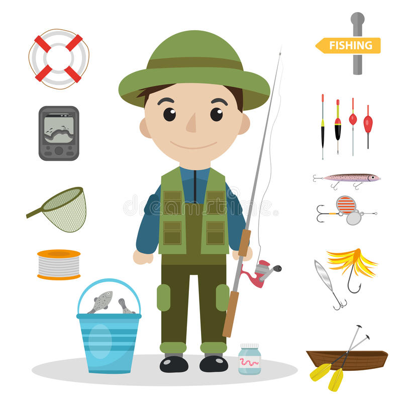 Fishing icon set, flat, cartoon style. Fishery collection objects, design elements, on white background vector illustration