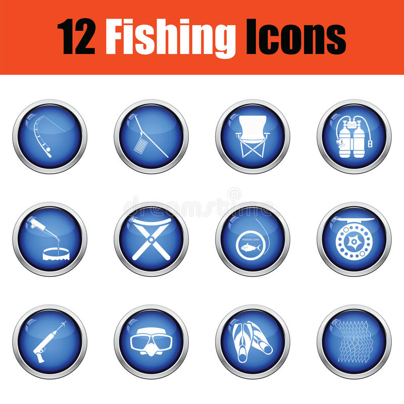 Fishing icon set. Glossy button design. Vector illustration vector illustration