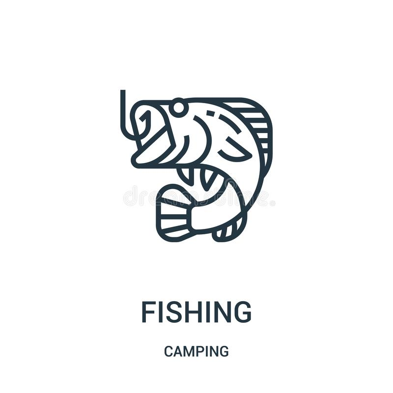 fishing icon vector from camping collection. Thin line fishing outline icon vector illustration. Linear symbol stock illustration