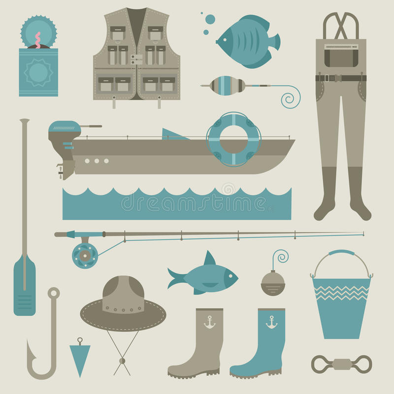 Download Fishing icons stock vector. Illustration of line, pole - 29174984