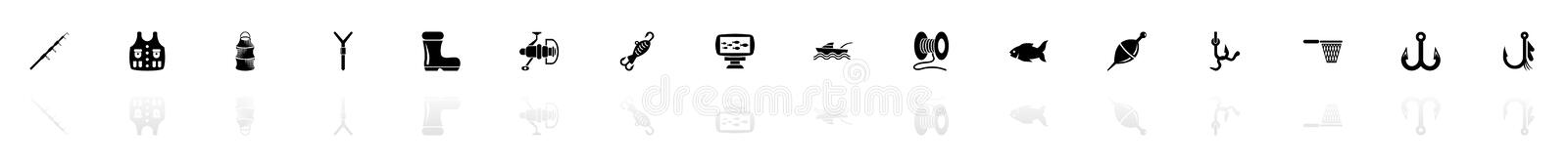 Fishing - Flat Vector Icons. Fishing icons - Black horizontal Illustration symbol on White Background with a mirror Shadow reflection. Flat Vector Icon royalty free illustration