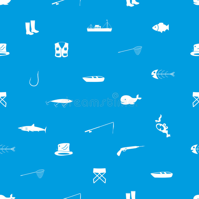 Download Fishing Icons Blue And White Seamless Pattern Stock Vector - Illustration of illustration, fish: 42100650
