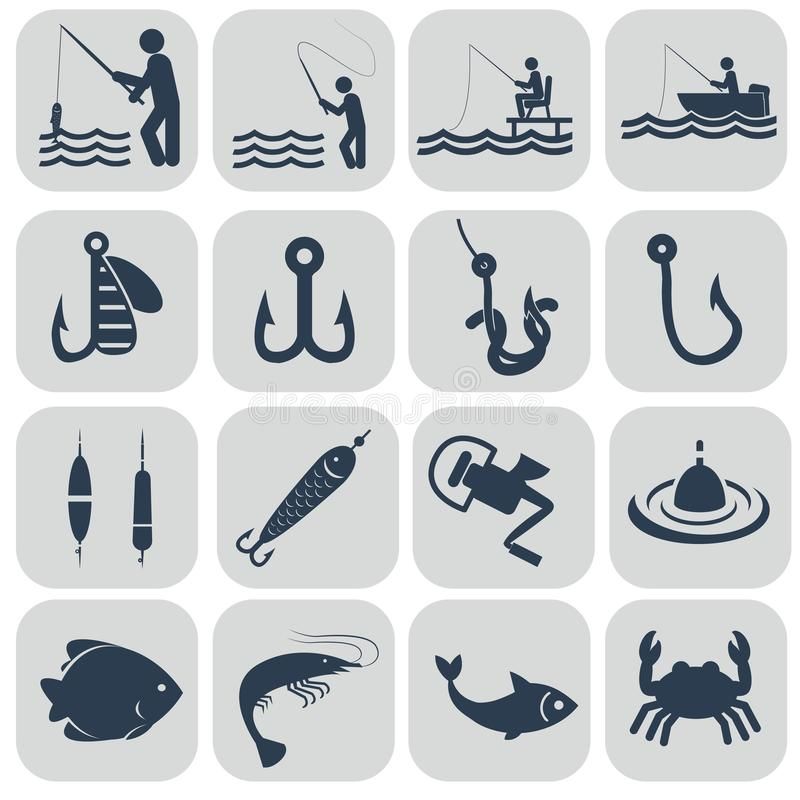 Fishing icons in single color vector illustration