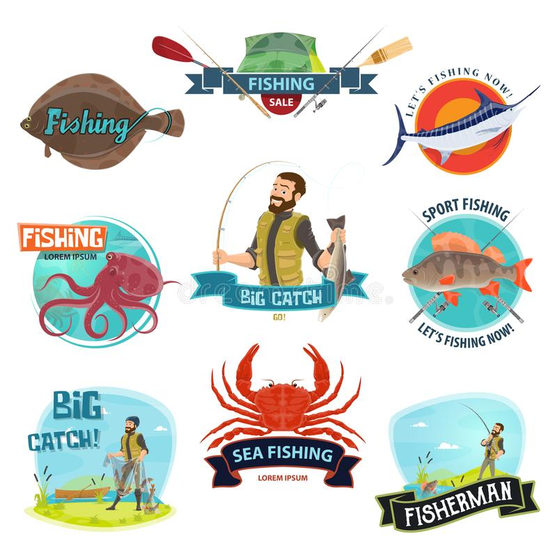 Vector fisherman sport fishing icons. Fishing icons templates for fisherman shop or fisher store sale. Vector isolated symbols of fish and seafood catch or stock illustration