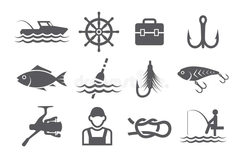 Fishing icons stock illustration