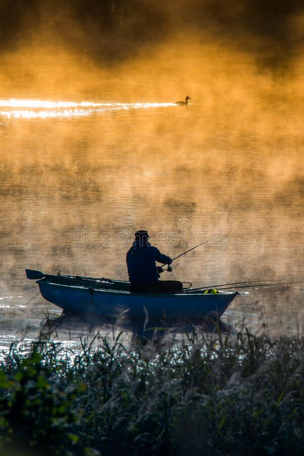 Free Fishing In A Misty Morning Royalty Free Stock Photography - 191611507