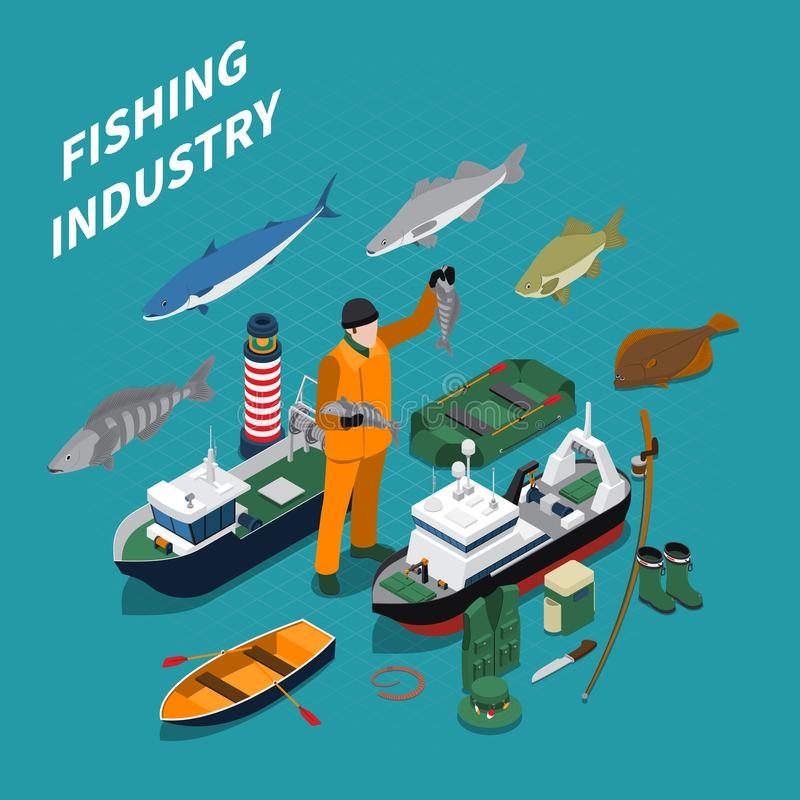 Fishing Isometric Concept stock illustration