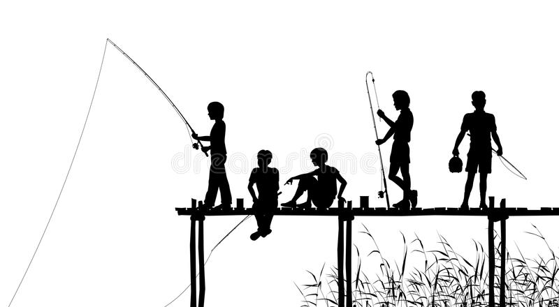 Fishing jetty. Editable silhouettes of children fishing from a wooden jetty with all elements as separate objects