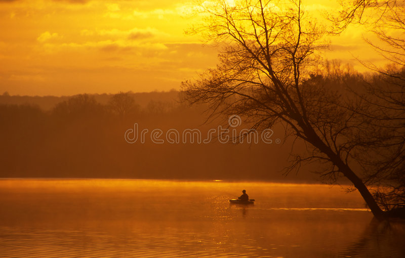 Fishing from a Kayak royalty free stock image