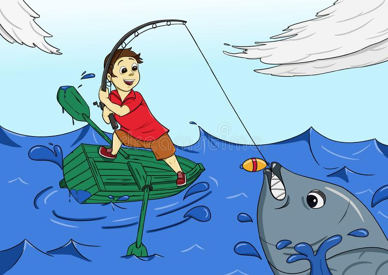 Fishing kid happy catch big fish. Illustration of a kid using small boat in middle of the sea fishing. He fell happy with his catch today vector illustration