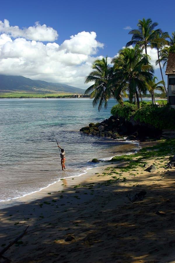 Fishing in Kihei, Hawaii stock photography
