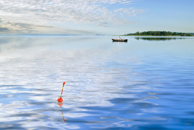 Fishing on the lake. With close-up float royalty free stock photos