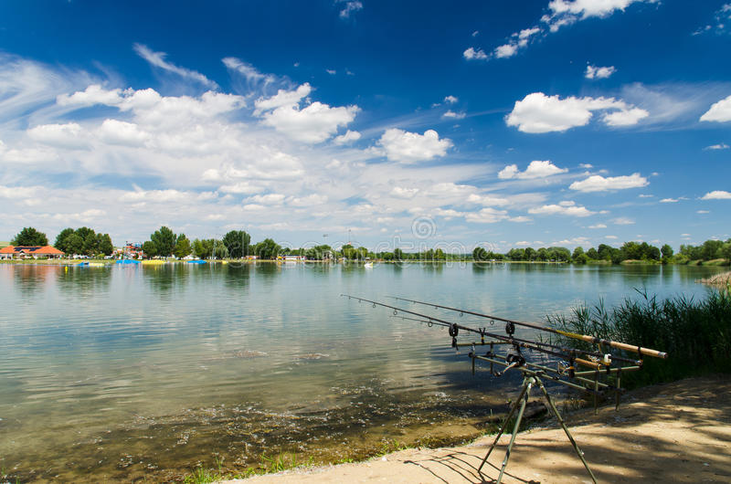 Fishing on the lake royalty free stock photos