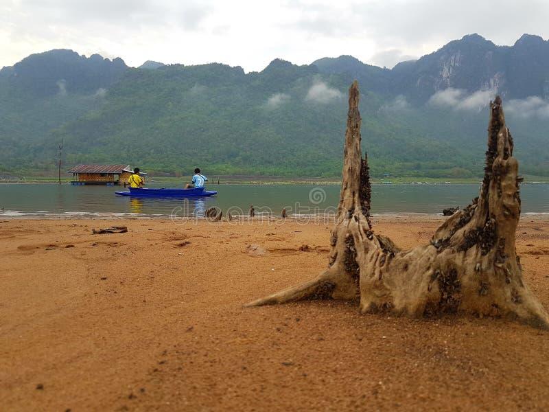 Fishing in the lake. Fishing in Kanchanaburi Thailand, water lake stock photo