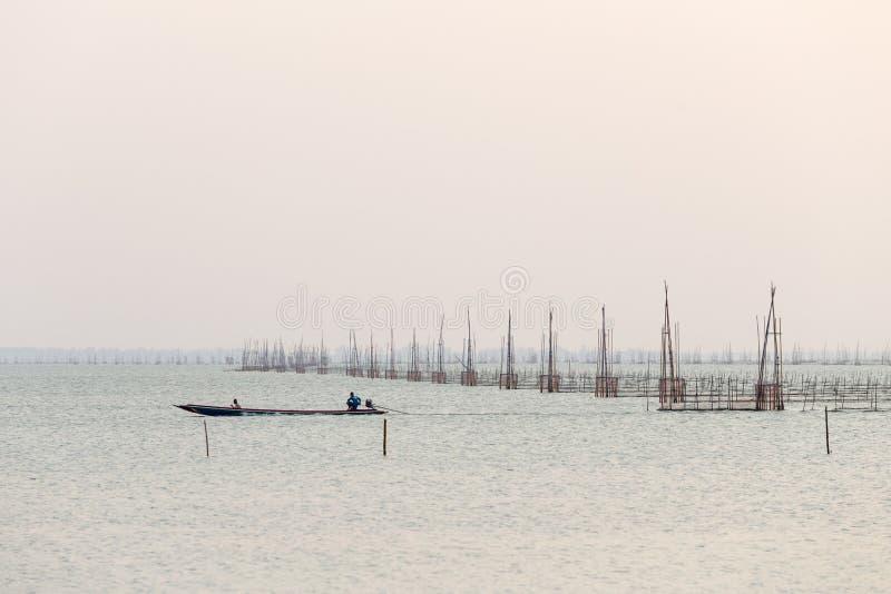 Fishing on A Lake stock photography